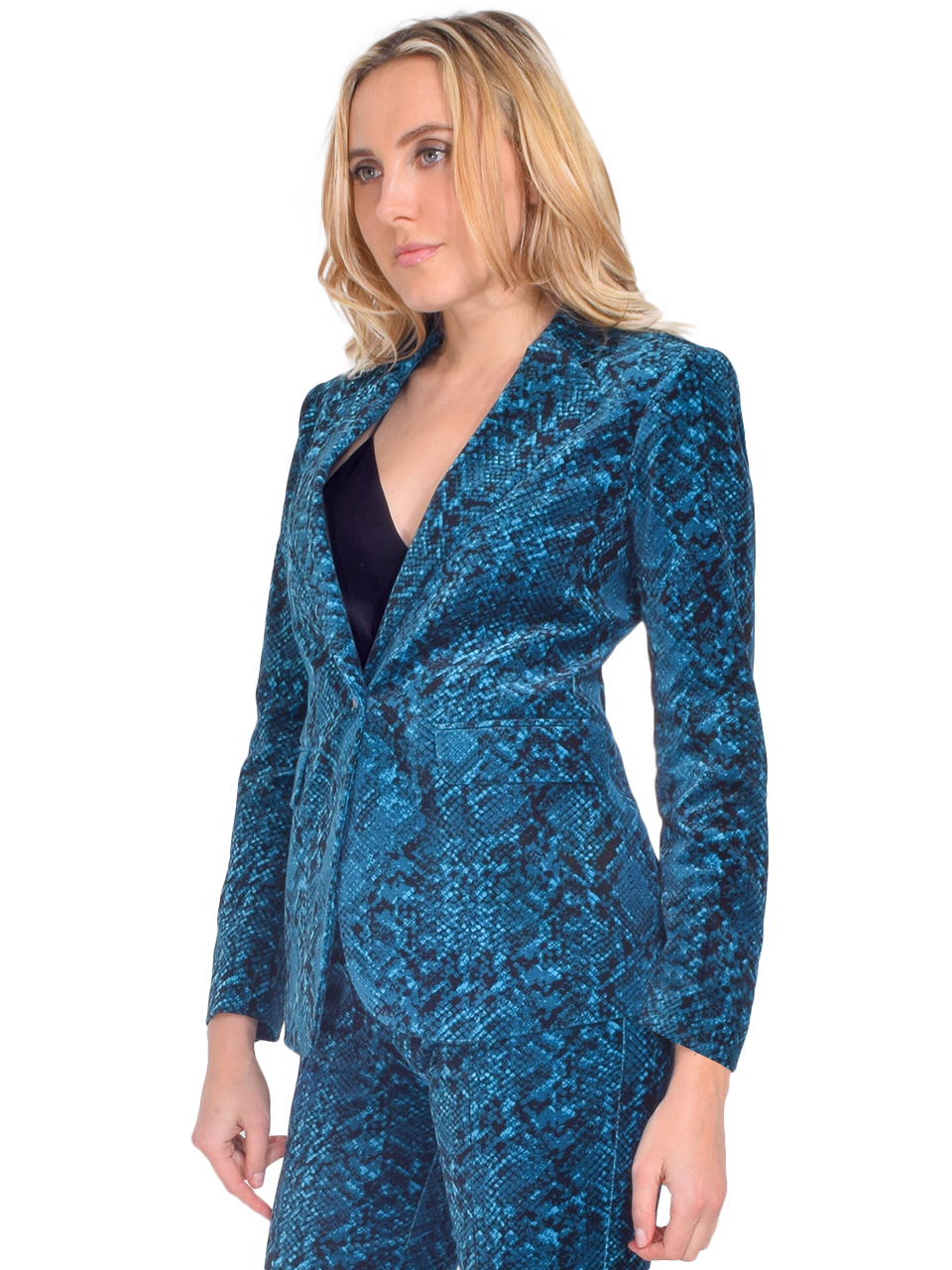 MISA Catroux Jacket in Teal Snake Side View