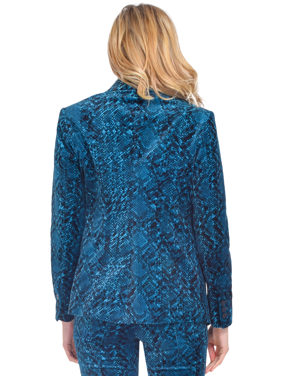 MISA Catroux Jacket in Teal Snake Back View