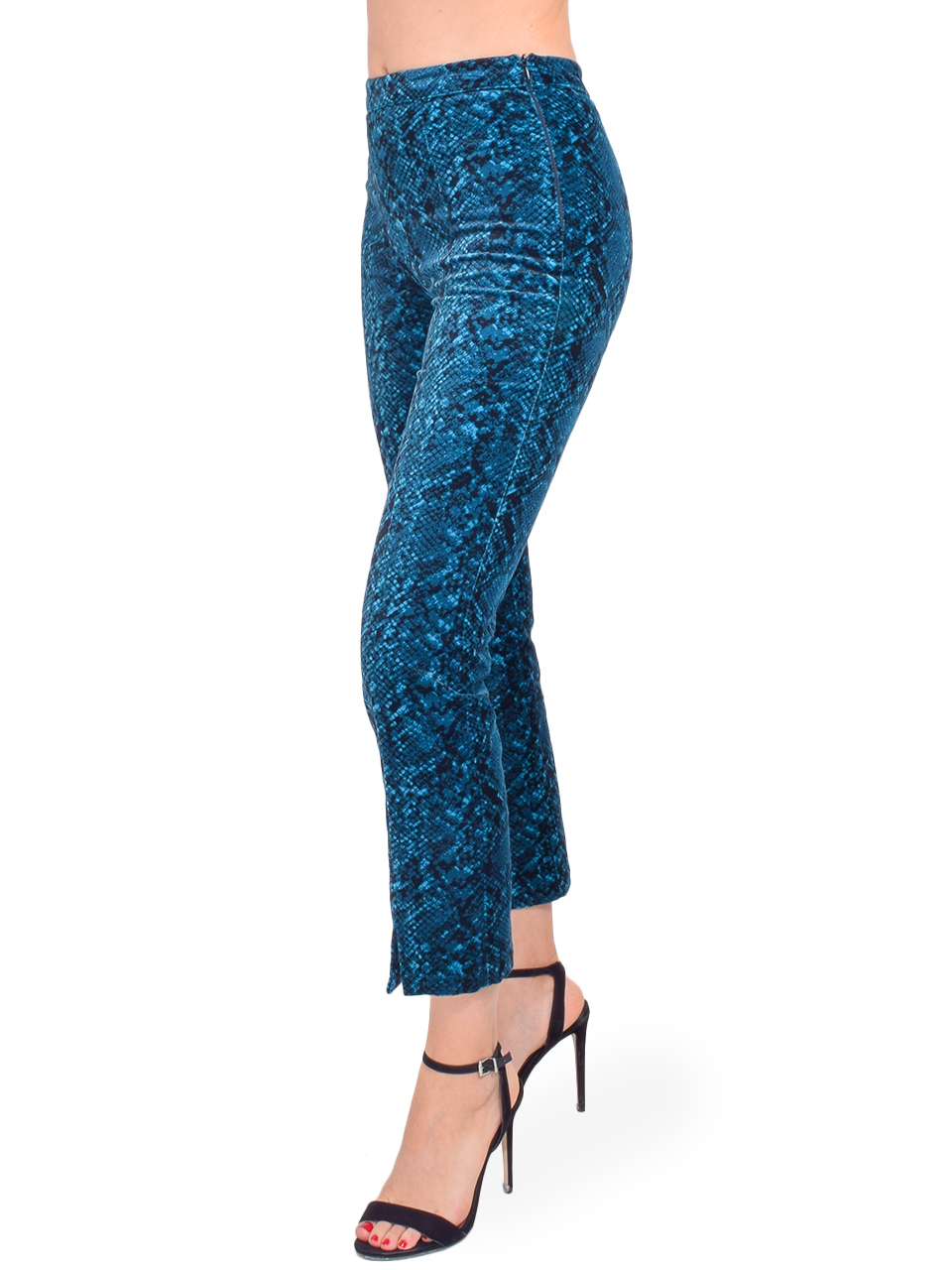 MISA Iris Pant in Teal Snake Side View