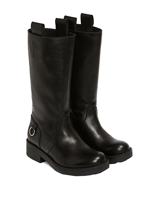 Ottod'Ame Biker Boot in Black  3/4 View