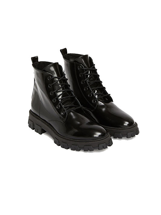 Ottod'Ame Lace Front Ankle Boot in Black 3/4 View