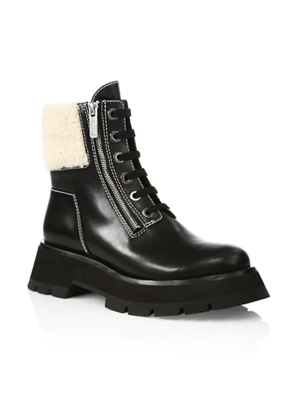 3.1 Phillip Lim Kate Lug Sole Shearling Boot 3/4 View
