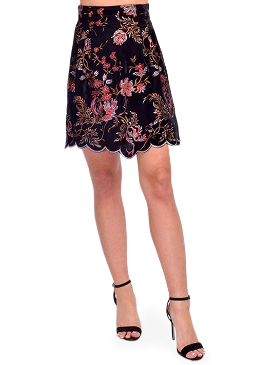Sabina Musayev Valentine Floral Embroidered Velvet Skirt Front View  X1https://cdn11.bigcommerce.com/s-3wu6n/products/33668/images/111605/DSC_0987__14294.1608770560.244.365.jpg?c=2X2