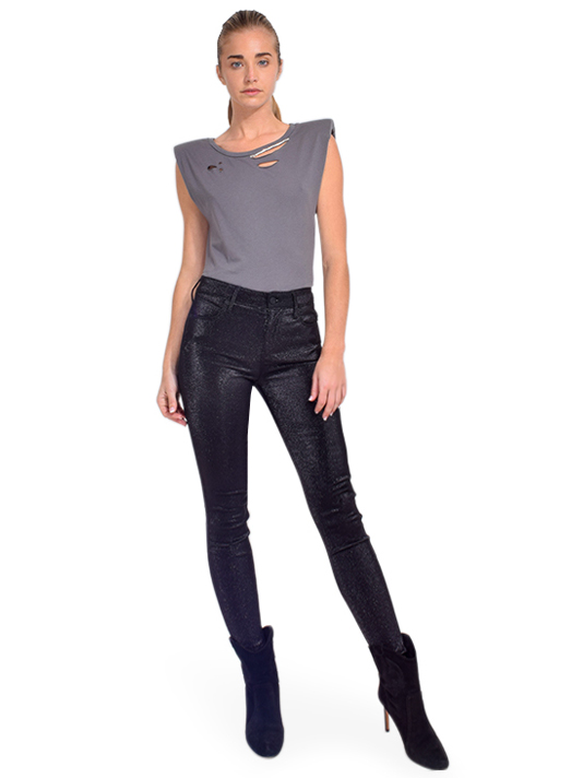 Alla Berman Tylar Muscle Tee in Charcoal Full Outfit