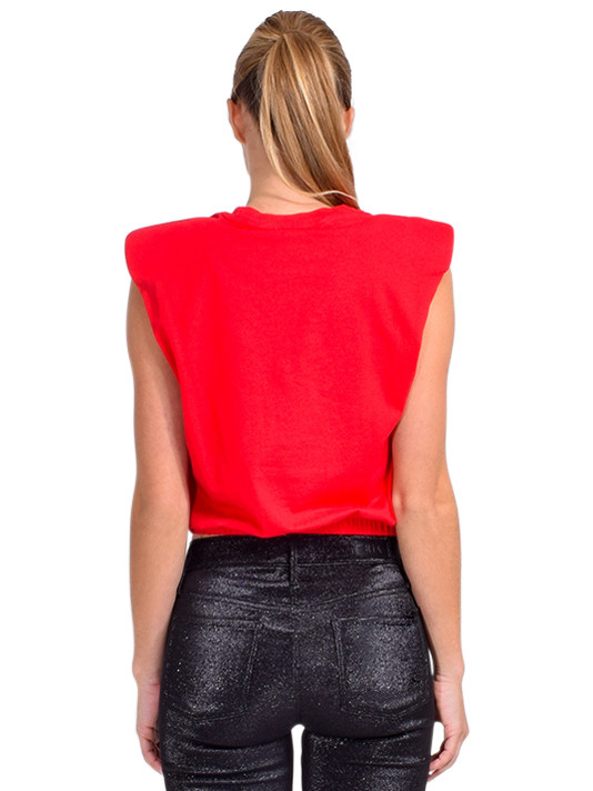 Alla Berman Charley Muscle Tee in Red Back View