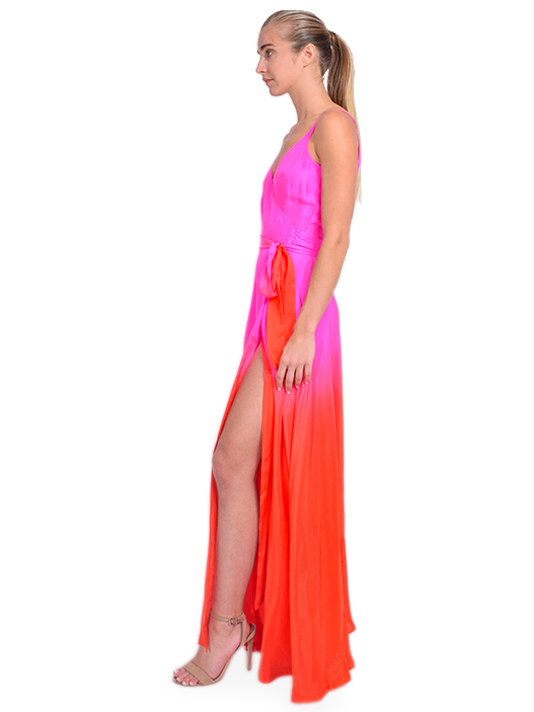 Charlize Silk Maxi Dress in Pink Ombre Side View
