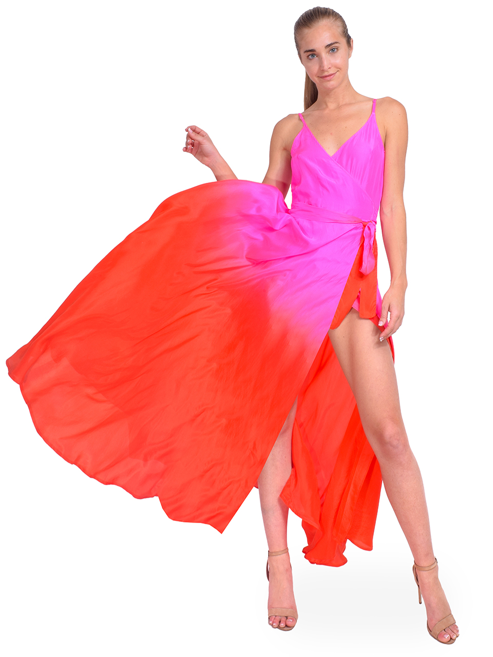 Charlize Silk Maxi Dress in Pink Ombre Front View 2