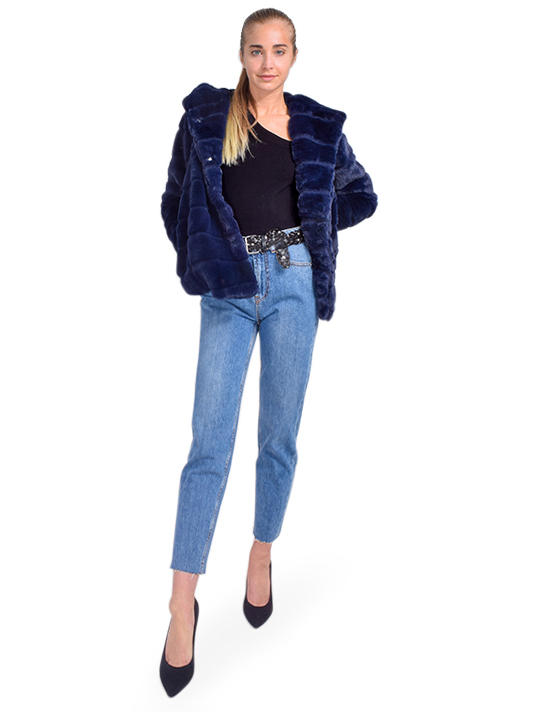 APPARIS Goldie Faux Fur Coat in Navy Full Outfit