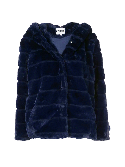 APPARIS Goldie Faux Fur Coat in Navy Product Shot