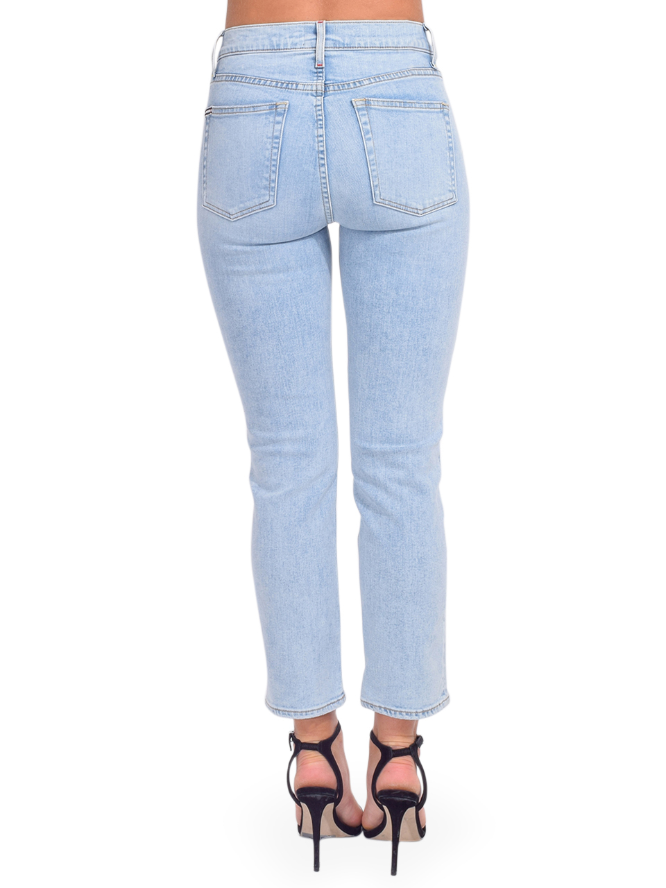 ALICE + OLIVIA Stunning High Rise Straight Leg in Baby Blues Back View