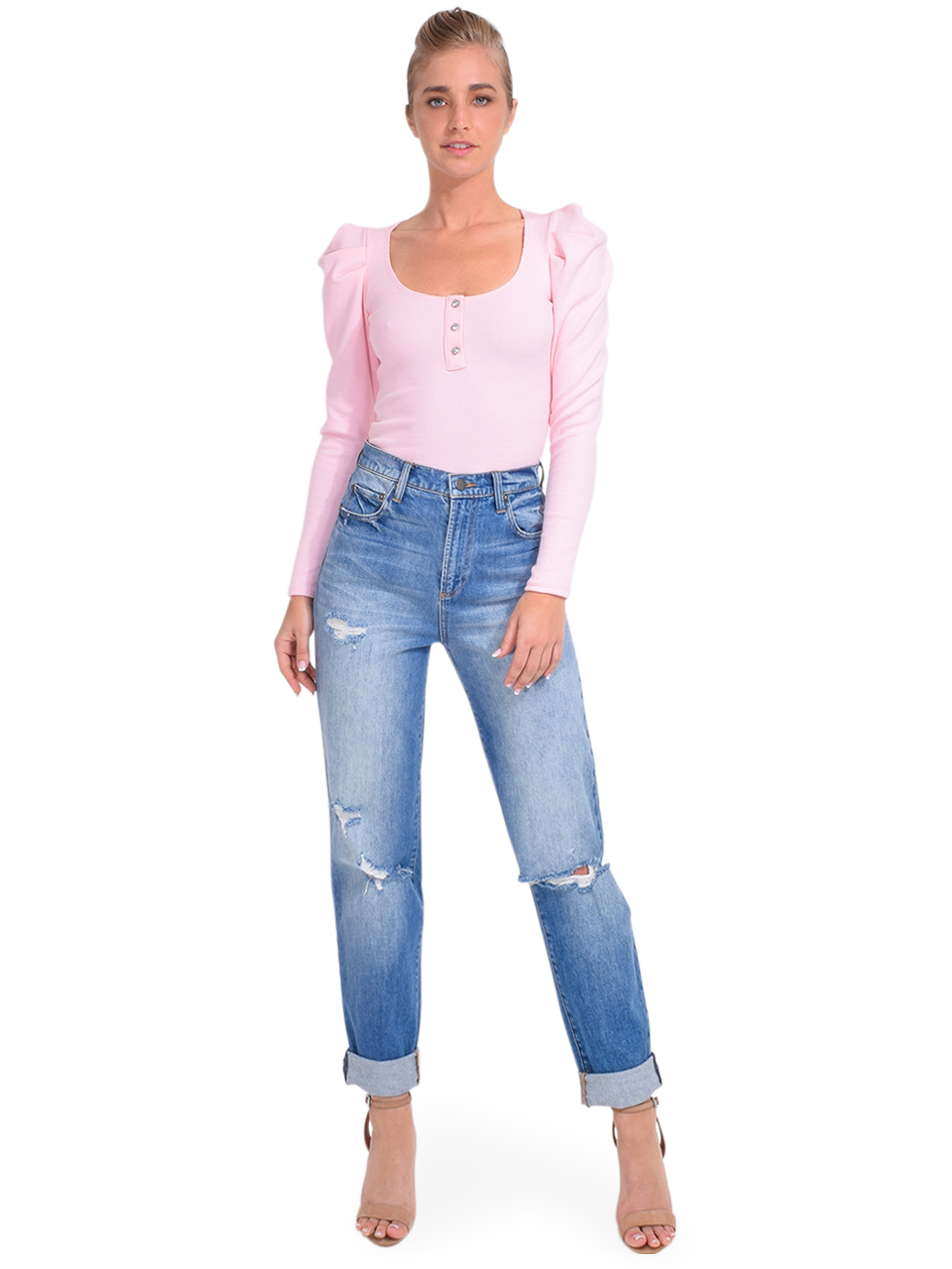 ALICE + OLIVIA Katerina High Waist Baggy Jean Full Outfit