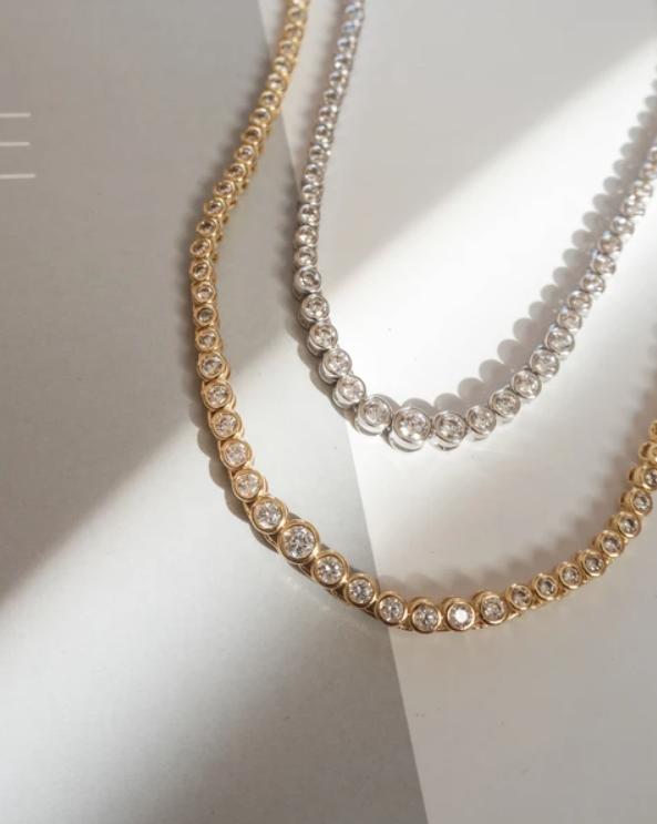 LUV AJ Rock Ballier Bezel Tennis Necklace in Silver Details 3