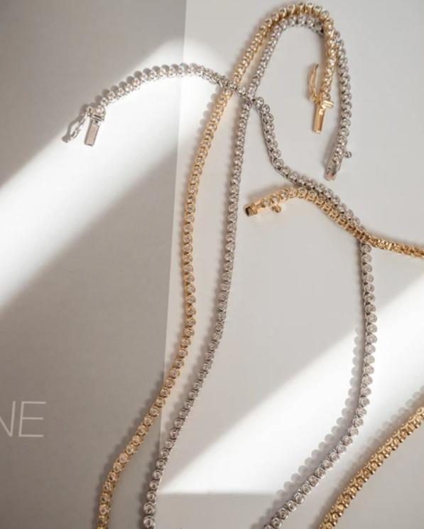 LUV AJ Rock Ballier Bezel Tennis Necklace in Silver Details 2