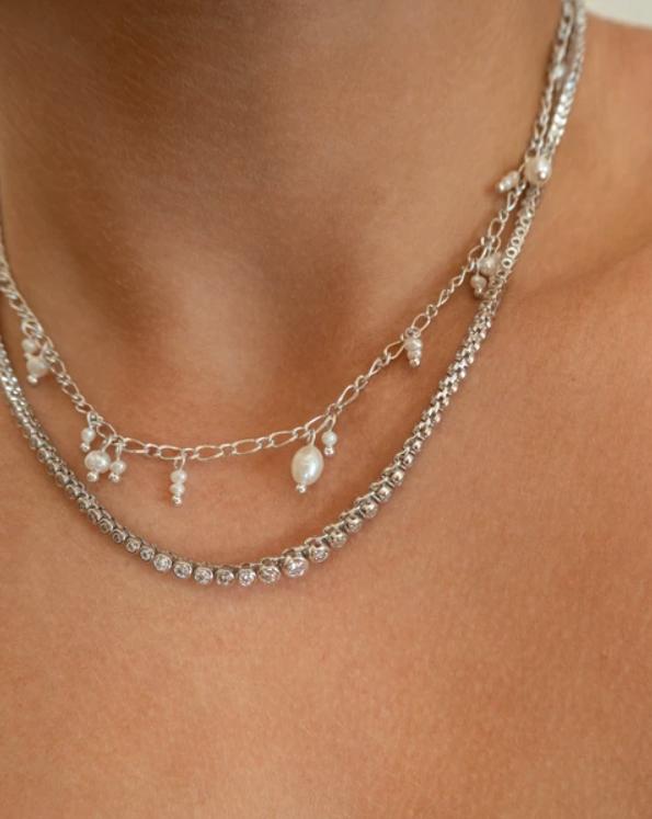 LUV AJ Rock Ballier Bezel Tennis Necklace in Silver on Model
