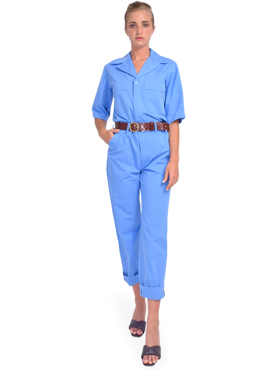 Ottod'Ame Cotton Jumpsuit in Blue Front View  x1https://cdn11.bigcommerce.com/s-3wu6n/products/33865/images/112628/DSC_0015__93031.1618436699.244.365.jpg?c=2x2