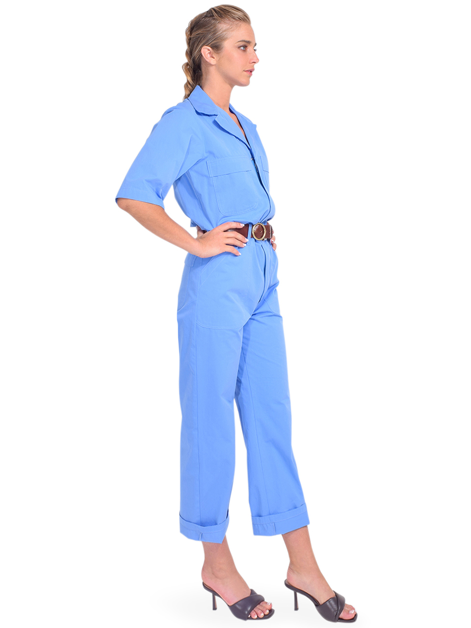 Ottod'Ame Cotton Jumpsuit in Blue Side View Side View