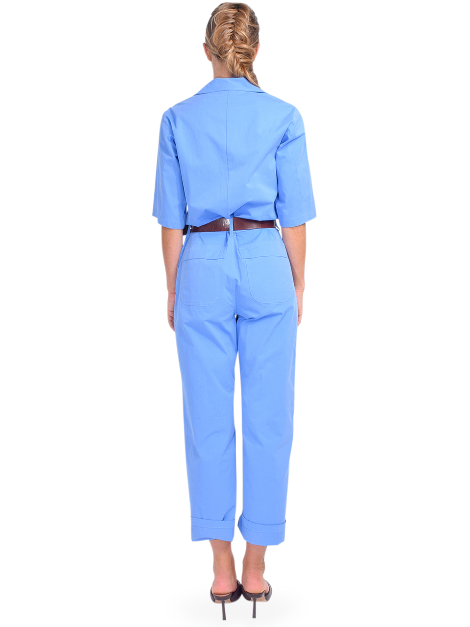 Ottod'Ame Cotton Jumpsuit in Blue Back View