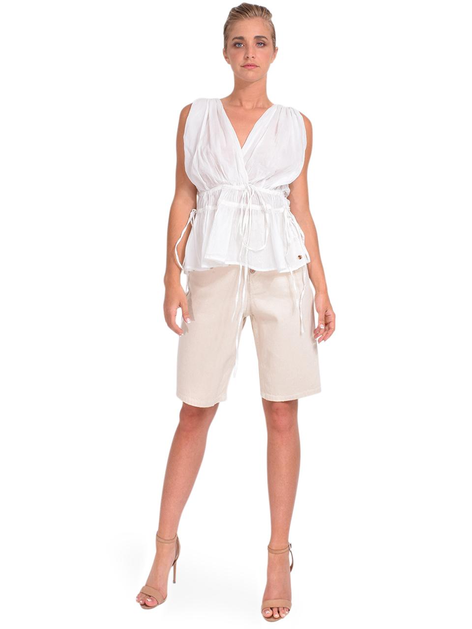 Bellerose Prism Bermuda Short in Natural Full Outfit