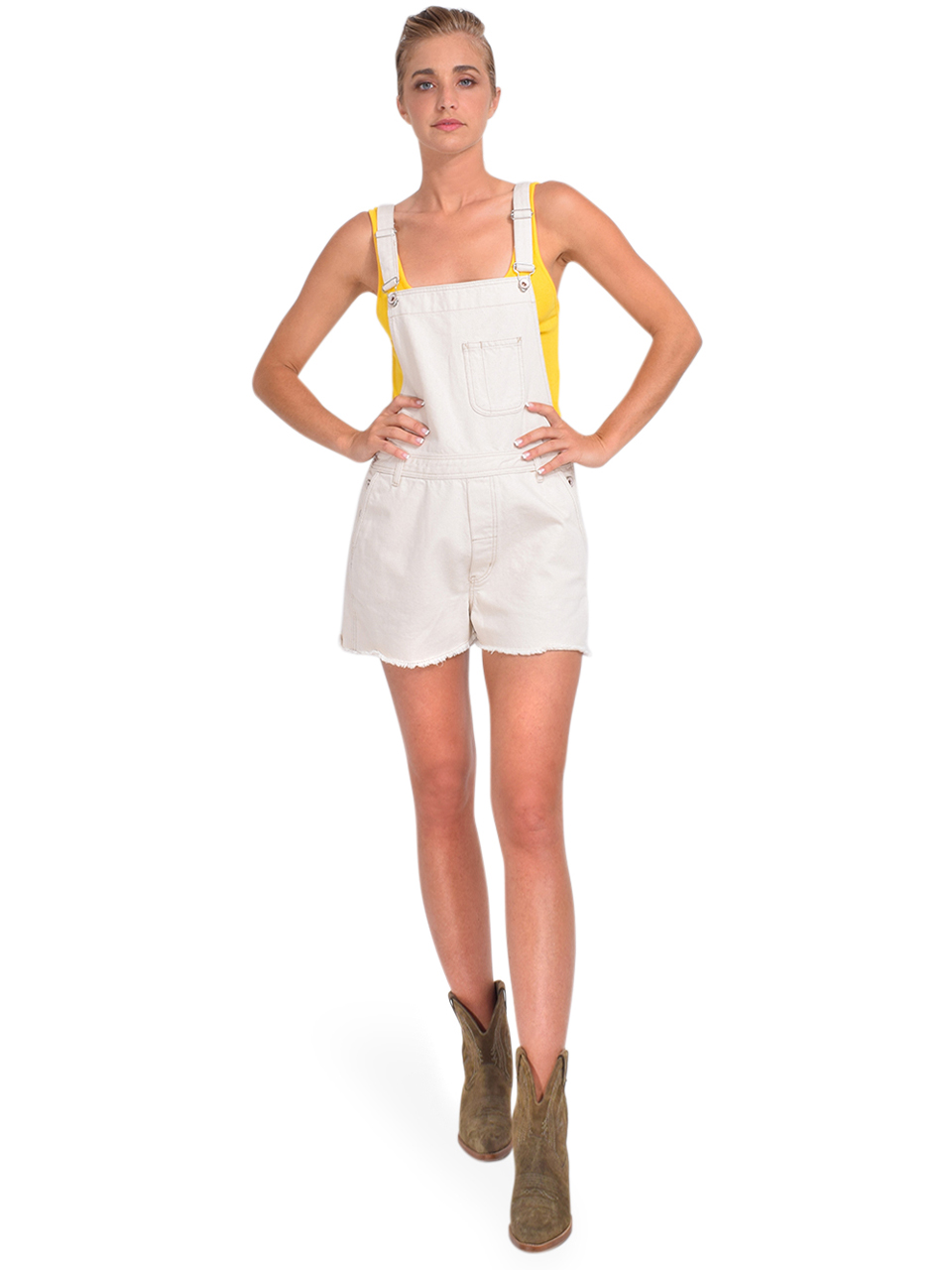 Bellerose Pachita Overall Shorts in Natural Full Outfit 2