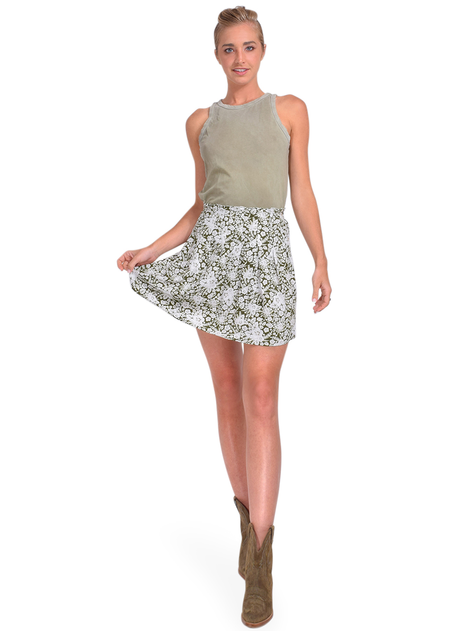 Cotton Citizen Standard Tank in Vintage Basil Full Outfit