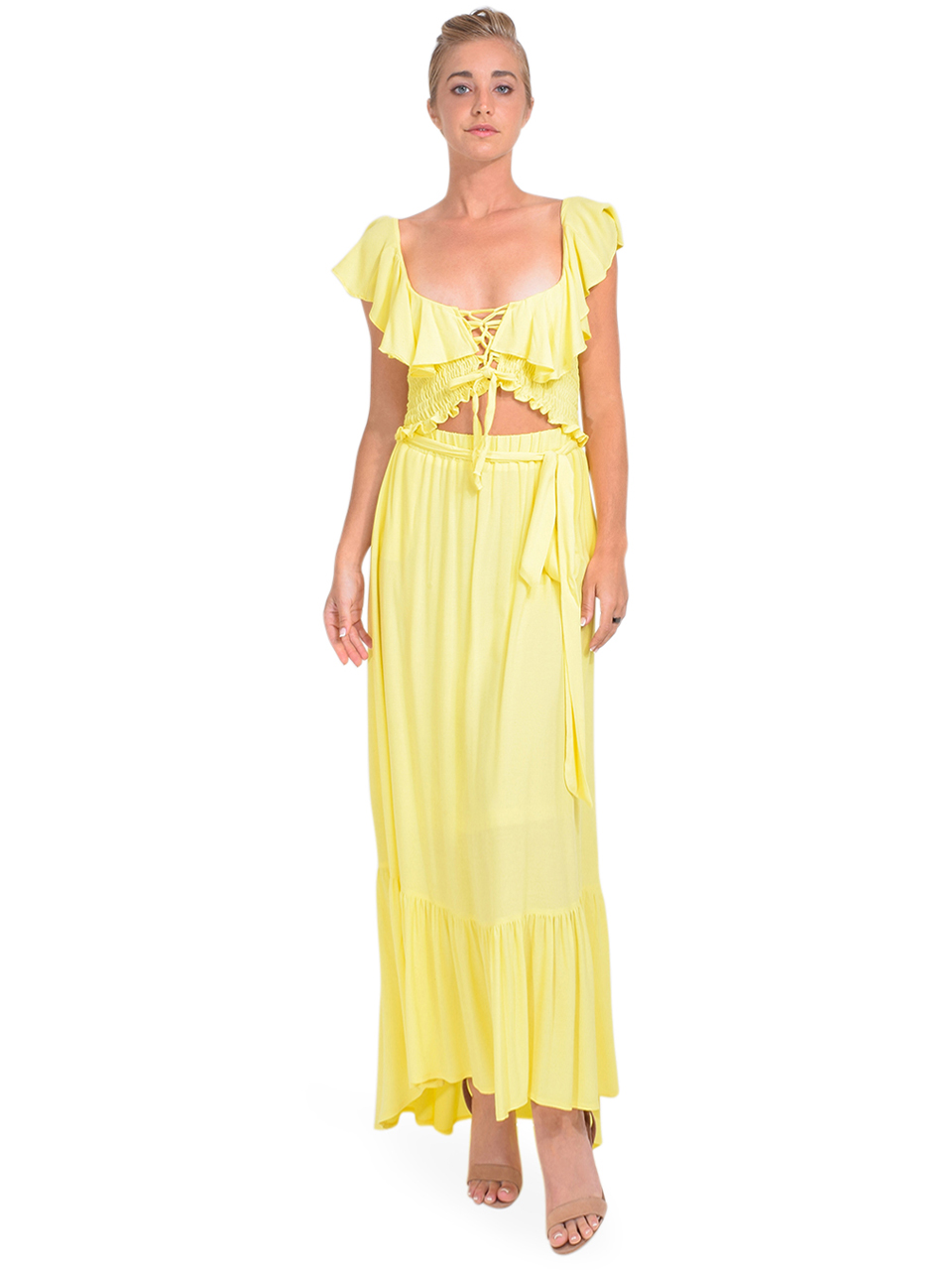 KASIA Sifnos Maxi Skirt in Yellow Full Outfit
