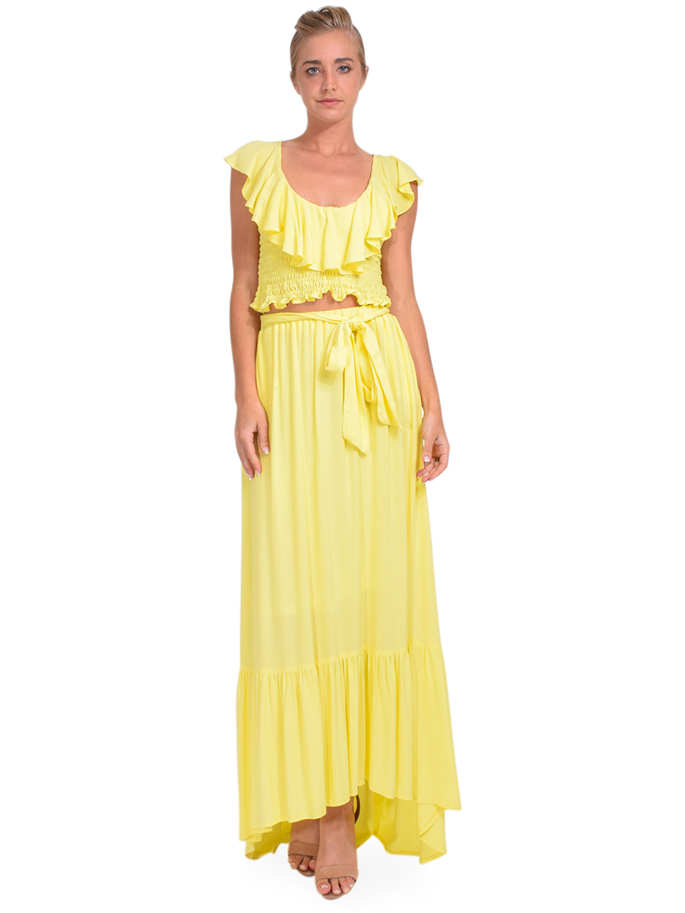 KASIA Sifnos Crop Top in Yellow Full Outfit 1