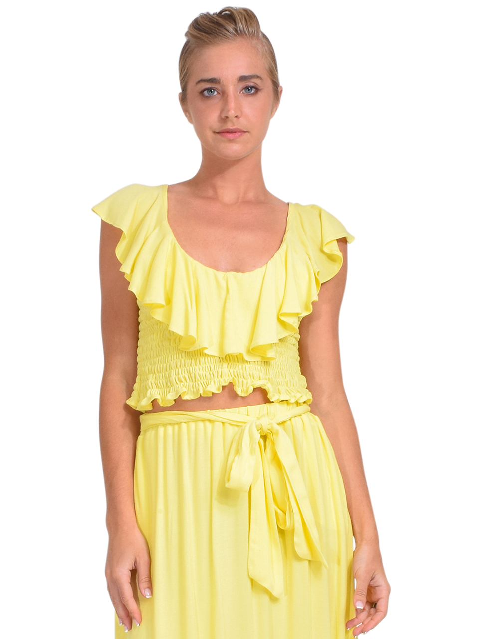 KASIA Sifnos Crop Top in Yellow Front View 2