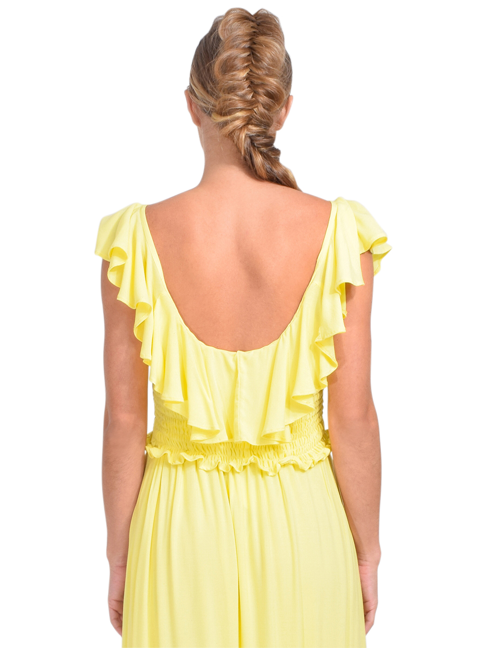 KASIA Sifnos Crop Top in Yellow Back View 1