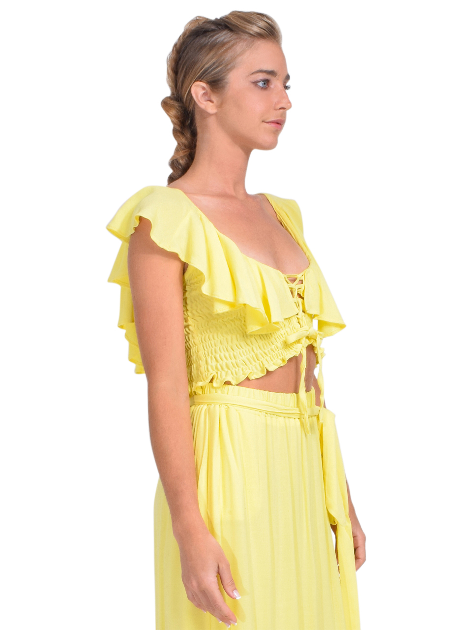 KASIA Sifnos Crop Top in Yellow Side View 1