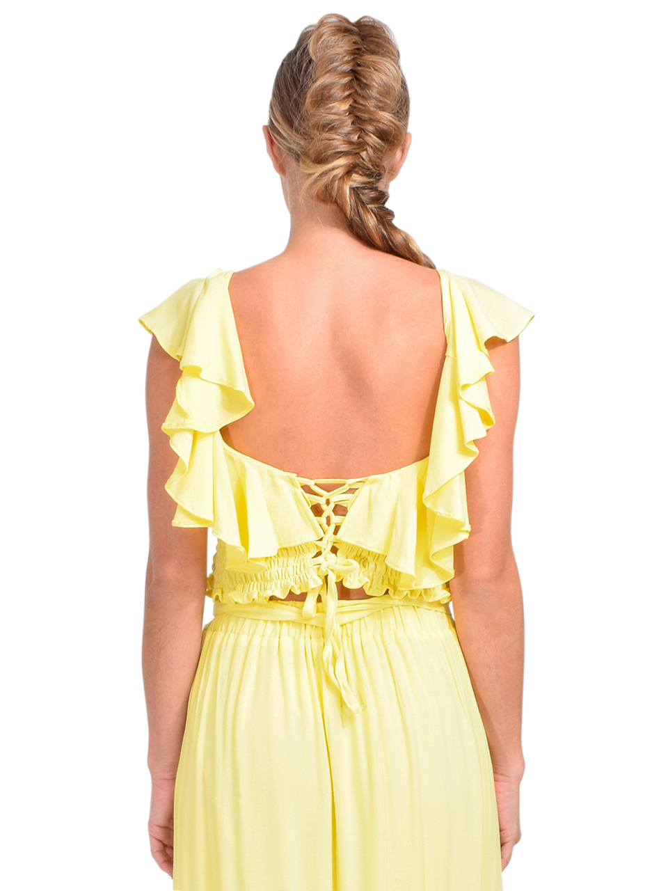 KASIA Sifnos Crop Top in Yellow Back View 2