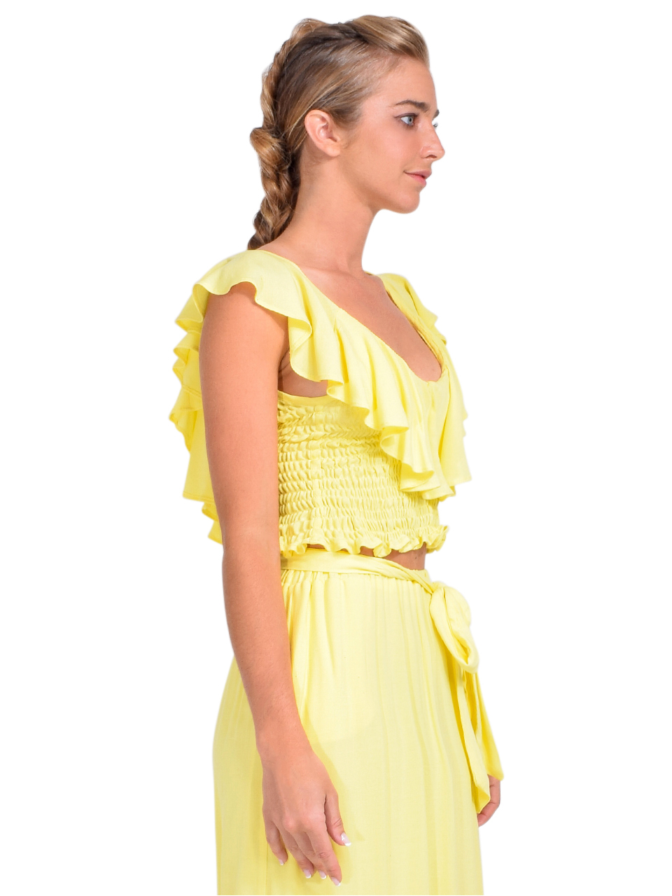 KASIA Sifnos Crop Top in Yellow Side View 2