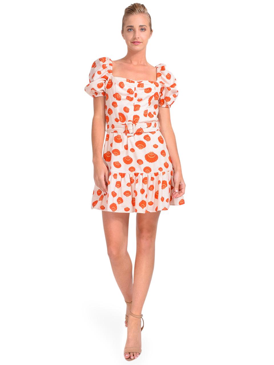 Karina Grimaldi Juliet Print Mini Dress in Tangerine Shells Front View  x1https://cdn11.bigcommerce.com/s-3wu6n/products/34004/images/113307/DSC_0973__96569.1621305526.244.365.jpg?c=2x2
