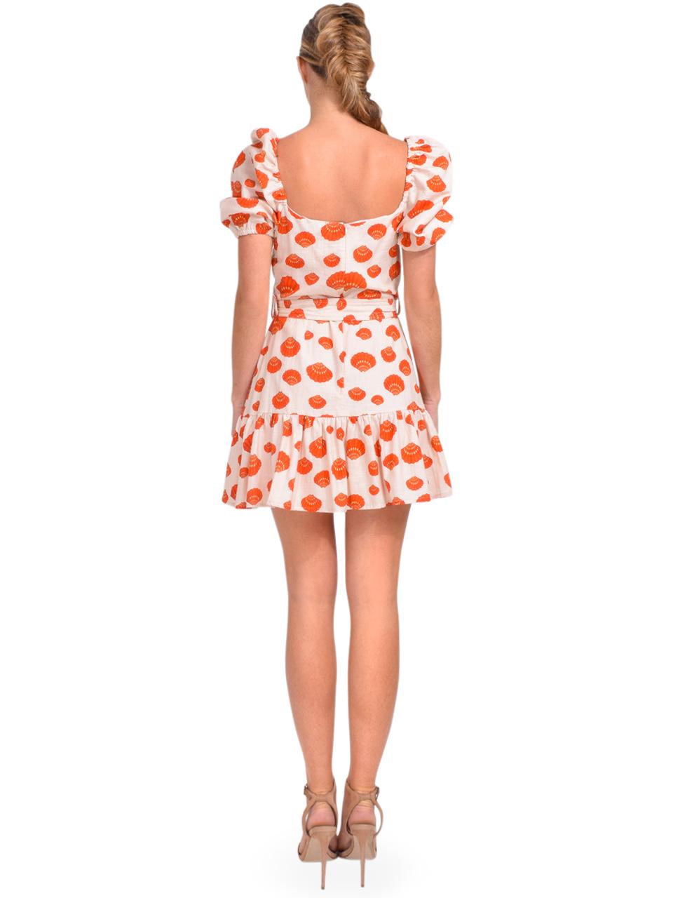 Karina Grimaldi Juliet Print Mini Dress in Tangerine Shells Back View