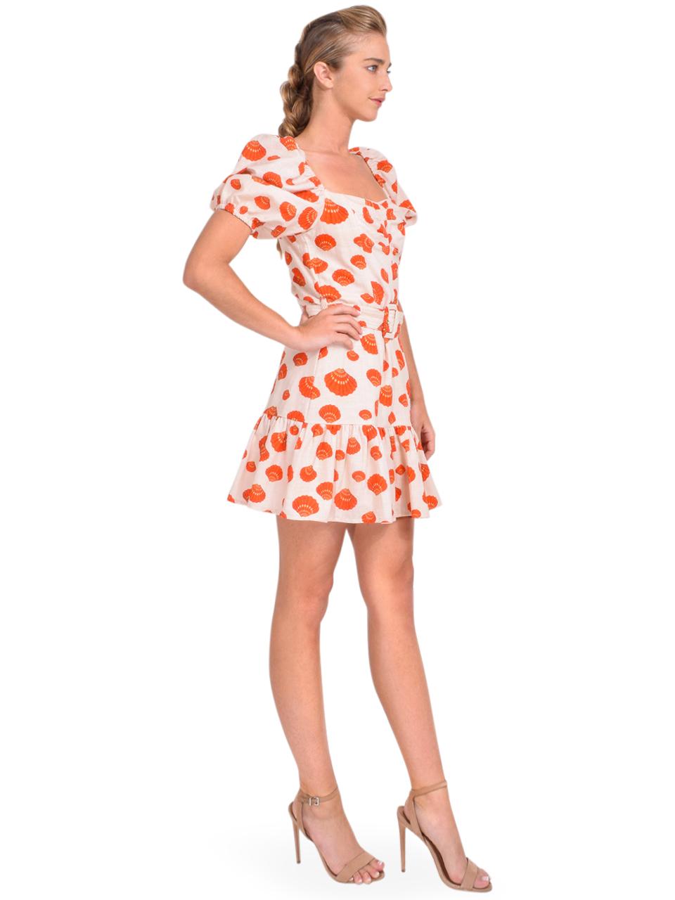 Karina Grimaldi Juliet Print Mini Dress in Tangerine Shells Side View