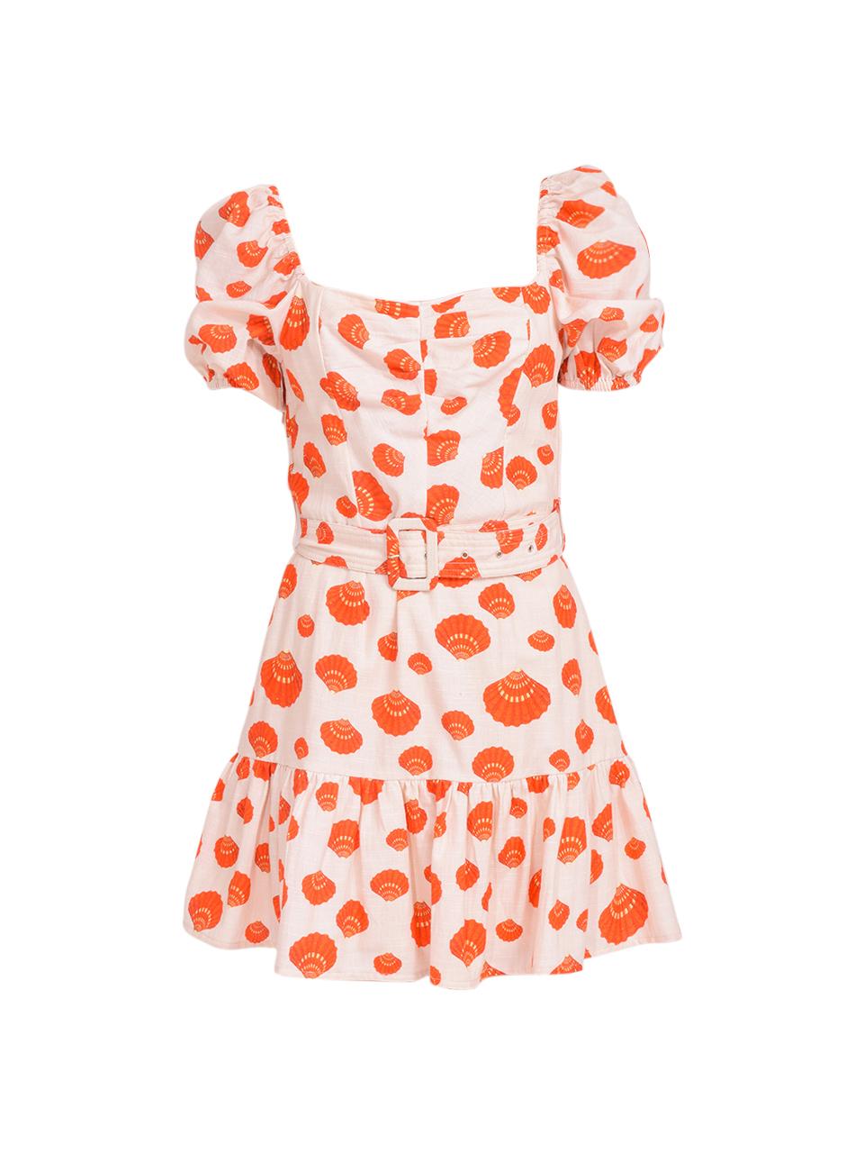 Karina Grimaldi Juliet Print Mini Dress in Tangerine Shells Product Shot