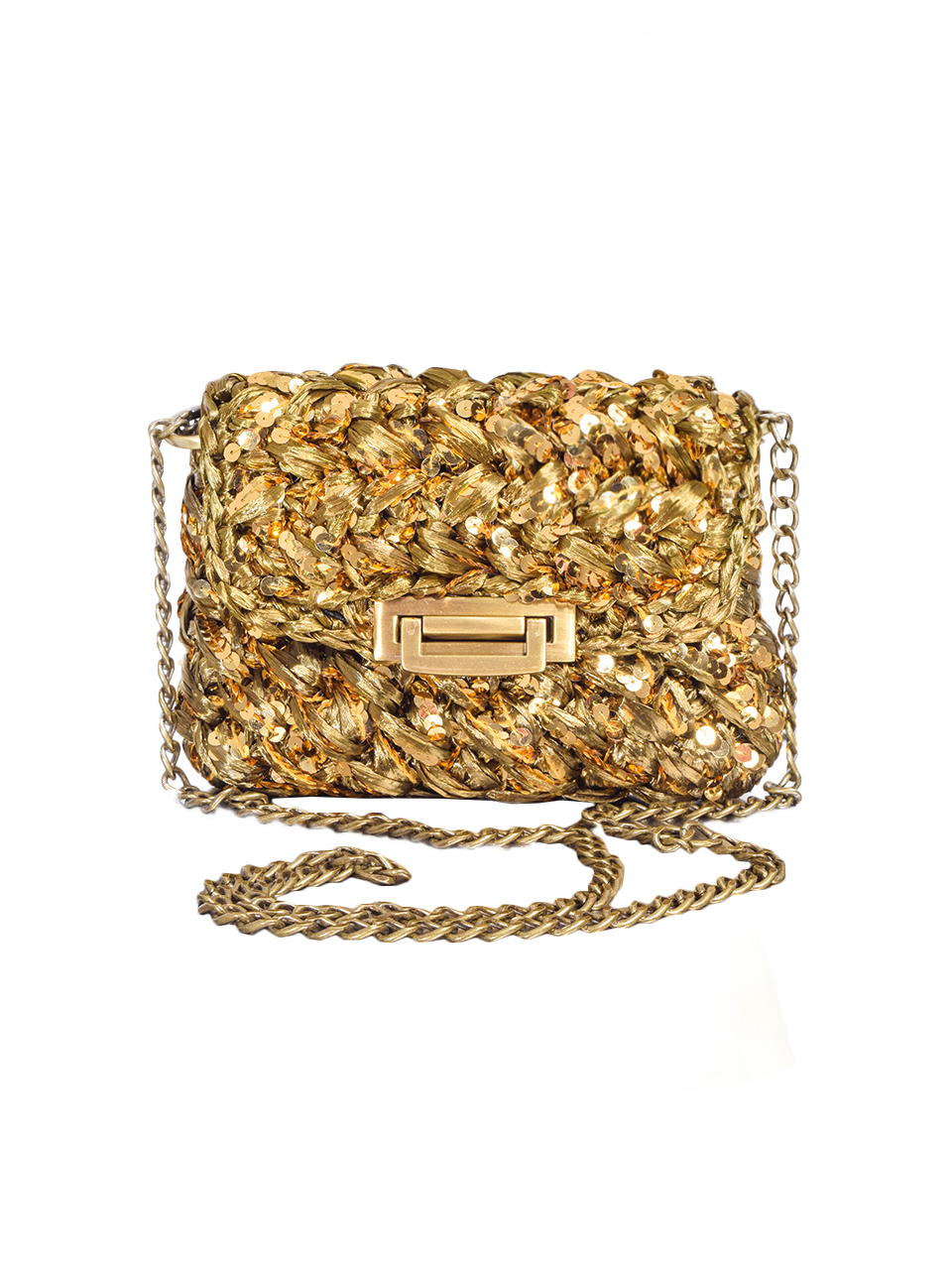 Lorenza Gandaglia Olive Raffia Bag with Chartreuse Sequins Front View with Chaiin