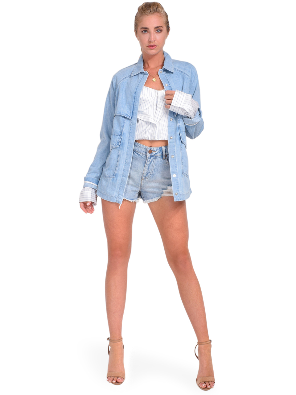 RTA Louna Jacket in Paradise Blue Full Outfit