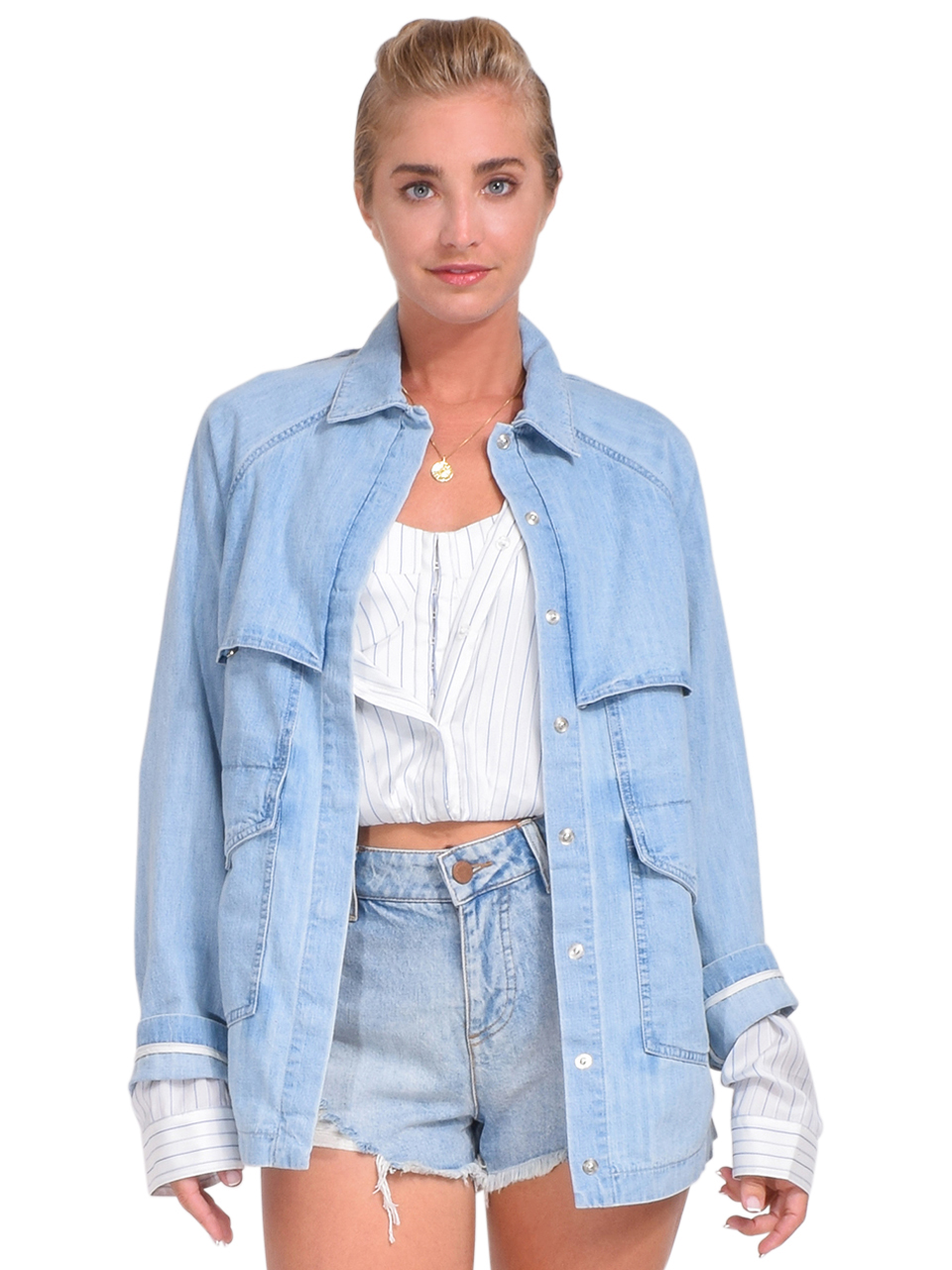 RTA Louna Jacket in Paradise Blue Front View