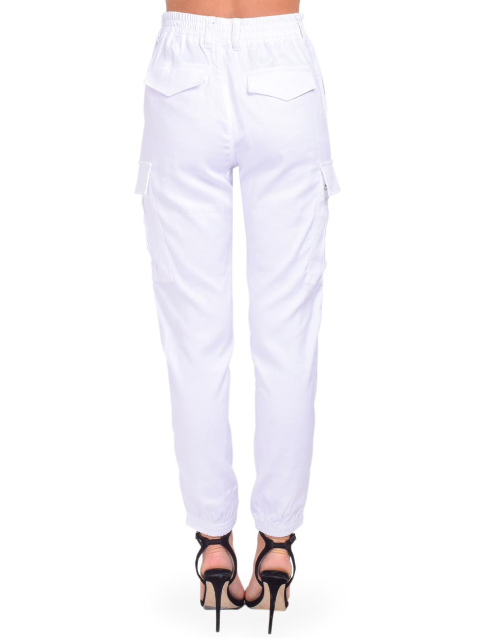 Jinni Cargo Pant in White Back VIew