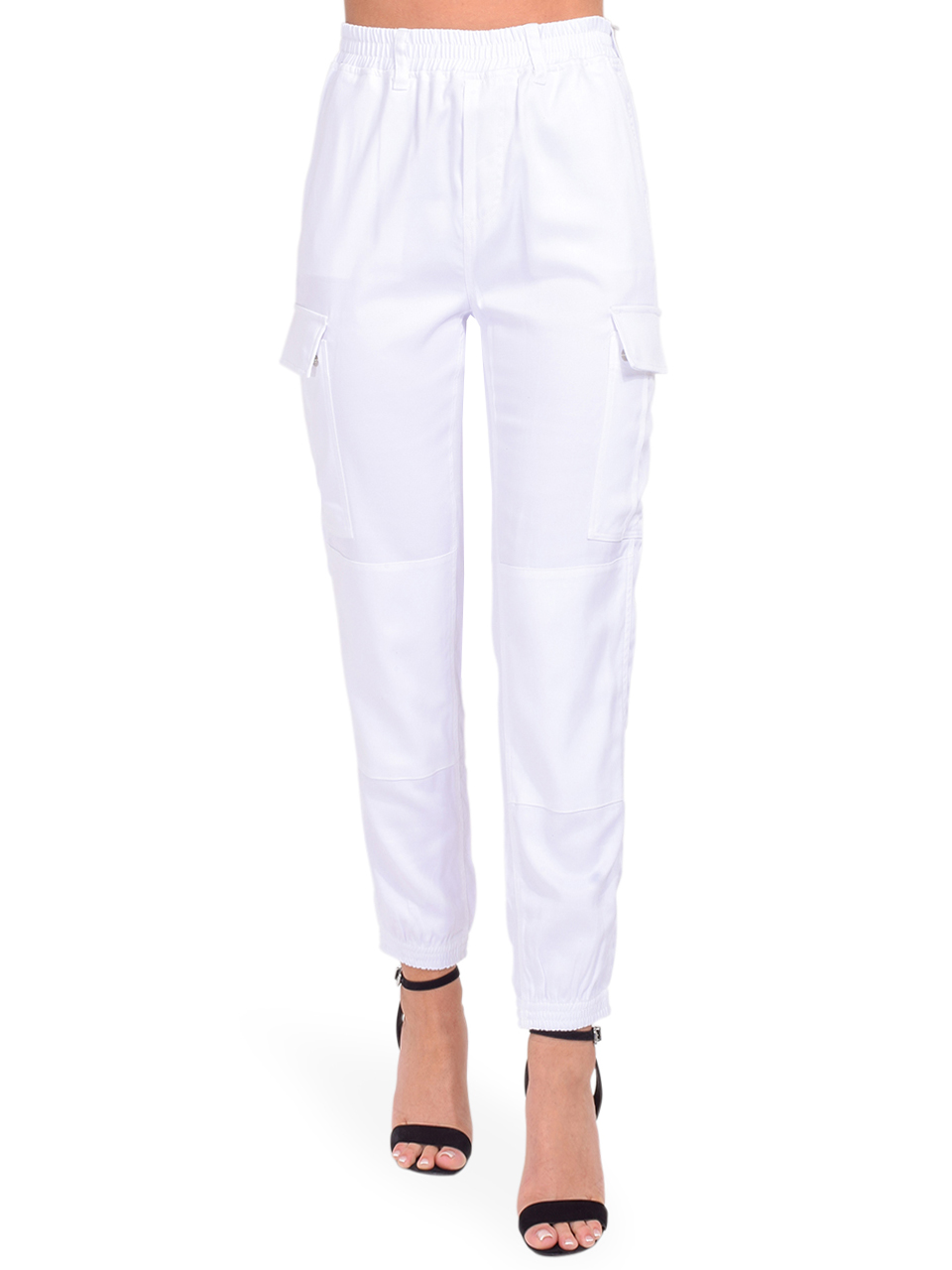Jinni Cargo Pant in White Front View