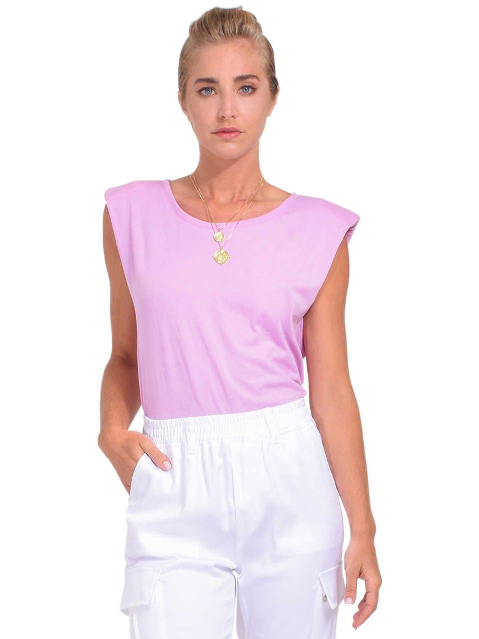 Alla Berman Jaymes Tee in Lilac Front View