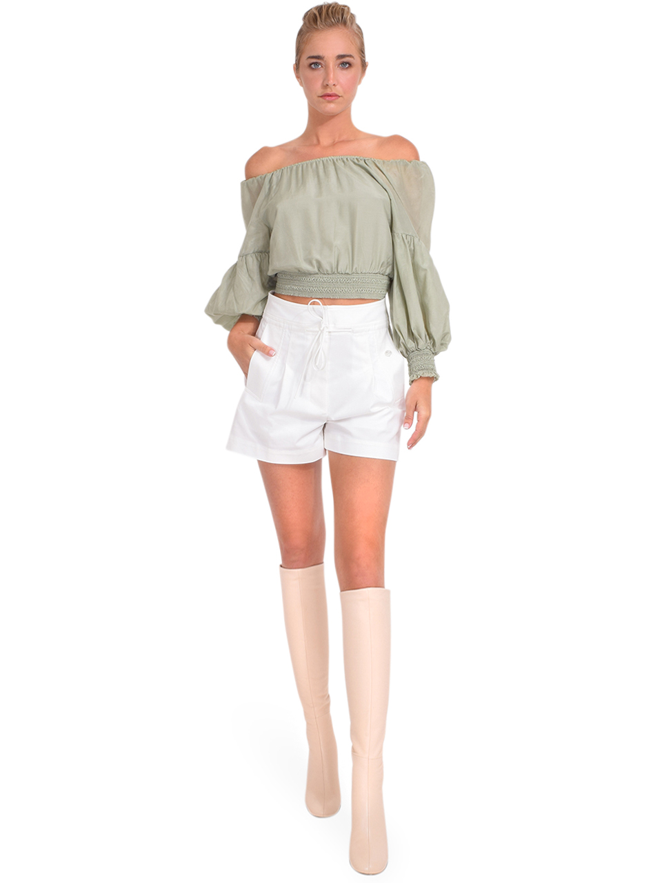 3.1 Phillip Lim Tie Waist Utility Short in Antique White Full Outfit