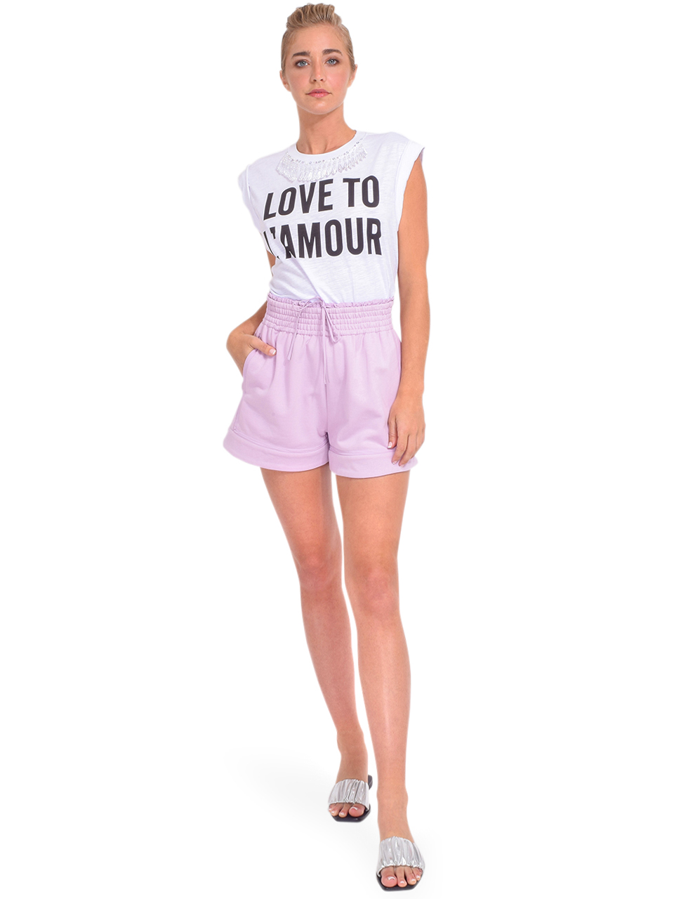 3.1 Phillip Lim French Terry Boxer Shorts in Lavender Full Outfit