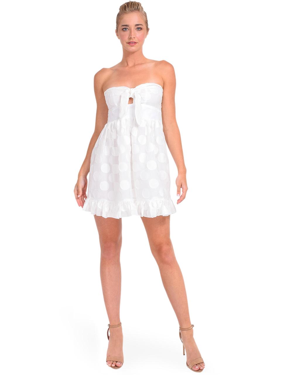 Karina Grimaldi Annie Dot Mini Dress in White Front View