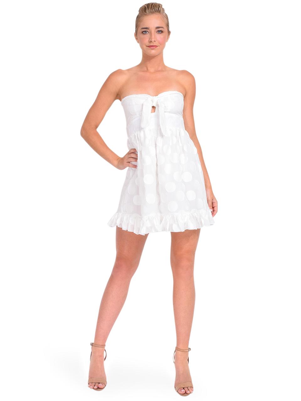 Karina Grimaldi Annie Dot Mini Dress in White Front View 2