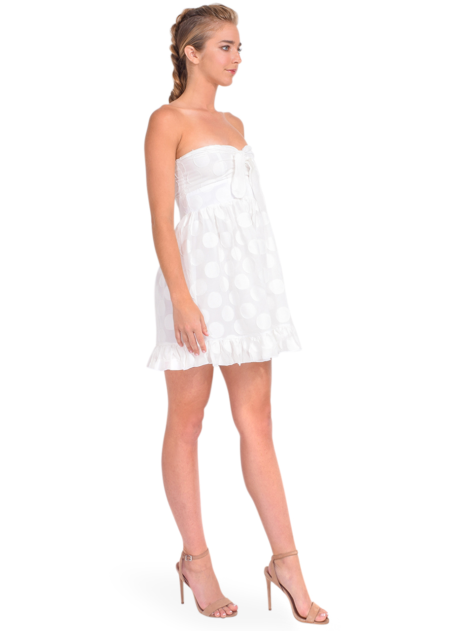 Karina Grimaldi Annie Dot Mini Dress in White Side View
