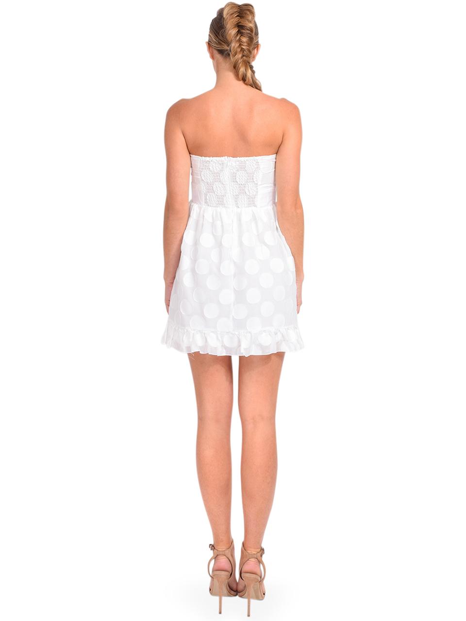 Karina Grimaldi Annie Dot Mini Dress in White Back View
