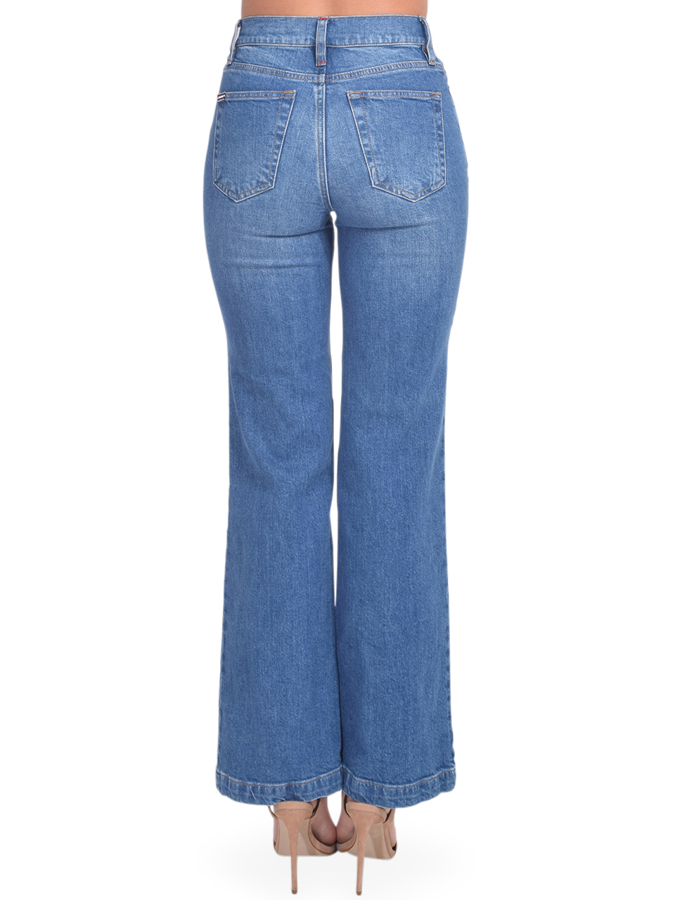 Alice + Olivia Liza Mid Rise Straight Ankle Jean in Best Intentions Back View