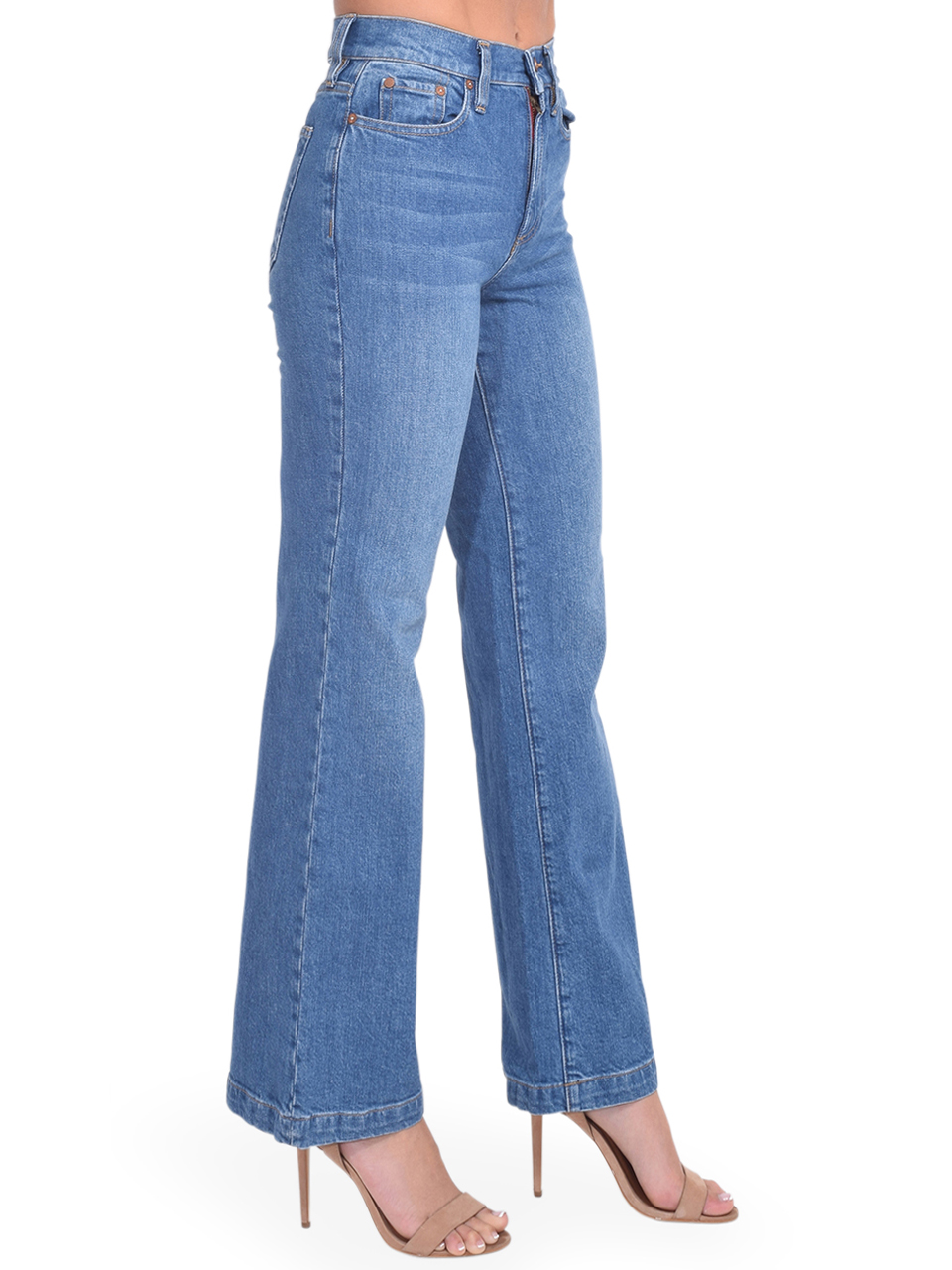 Alice + Olivia Liza Mid Rise Straight Ankle Jean in Best Intentions Side View