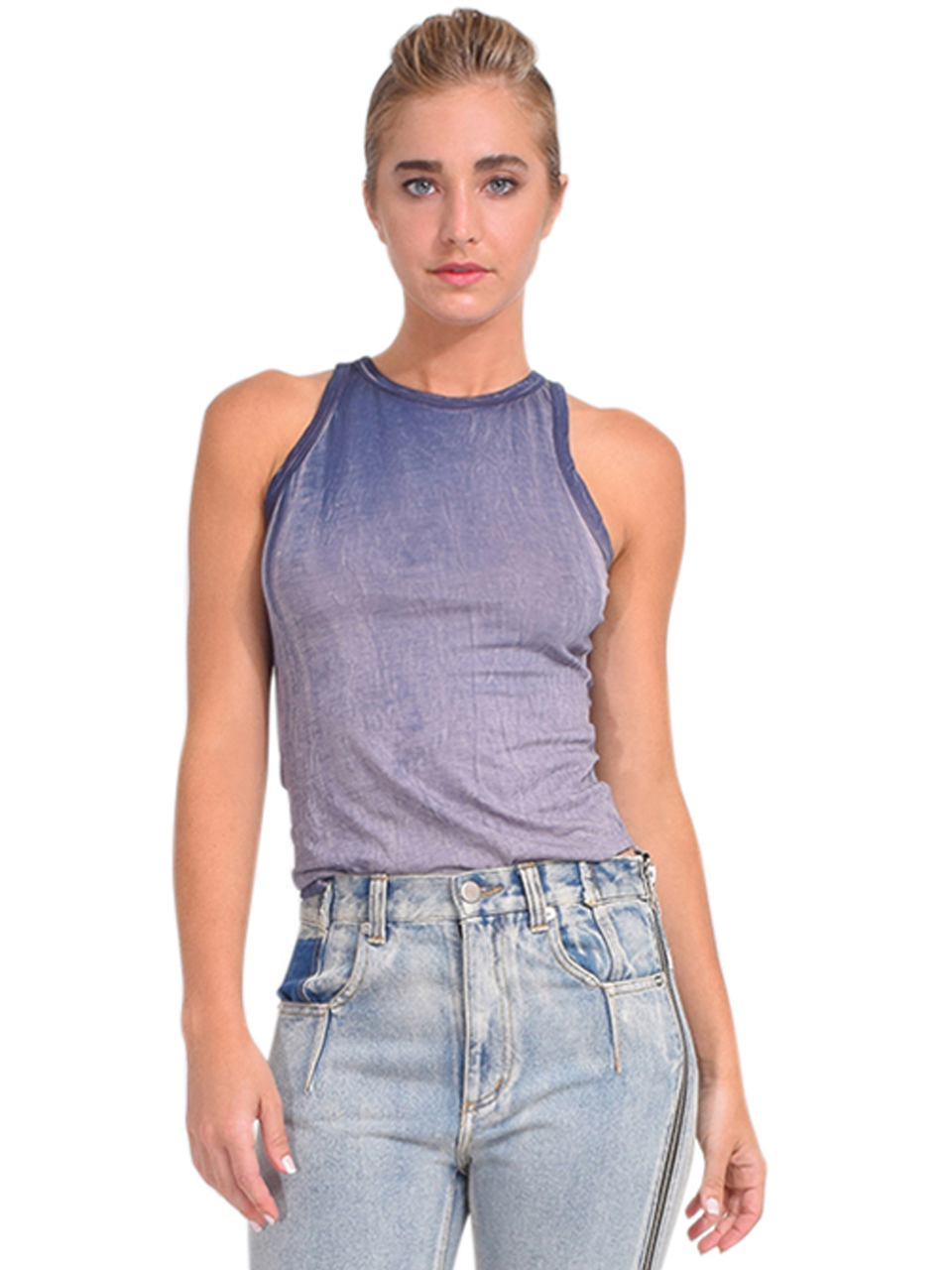 Cotton Citizen Standard Tank in Navy Mix Front View
